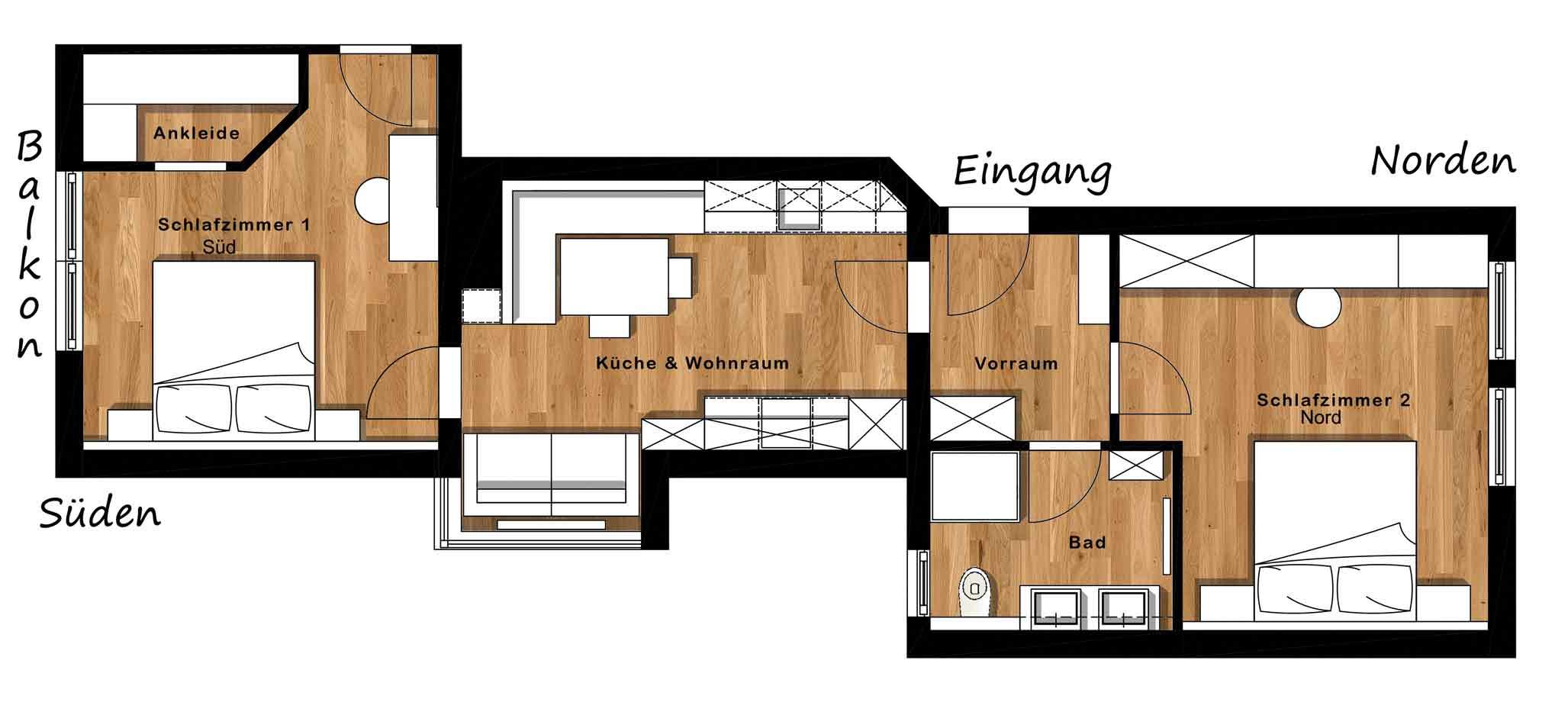 Appartement Oppeneiger Grundriss